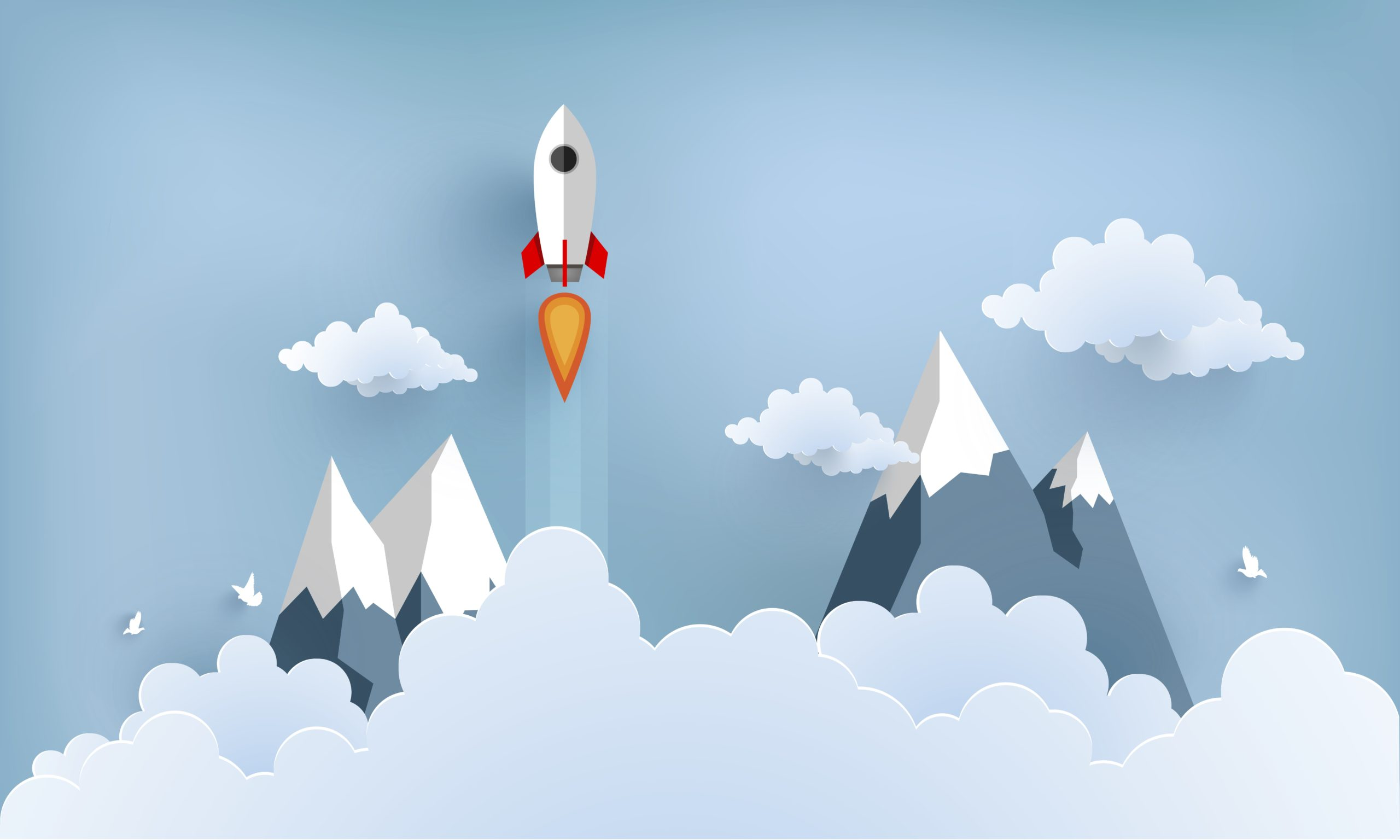 A rocket emerging above the clouds, mountain tops are seen, symbolizing a launch investing in startups